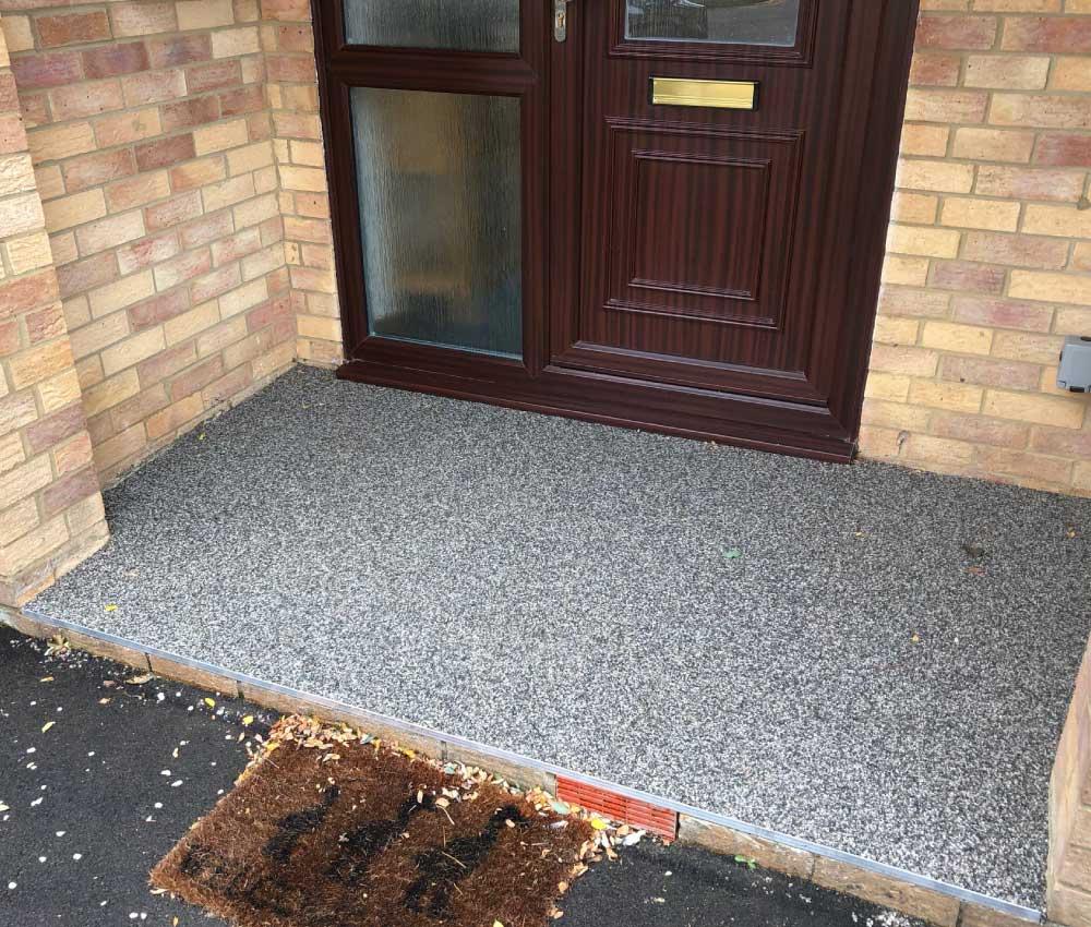 Grey Resin Bound Gravel Front Door Step