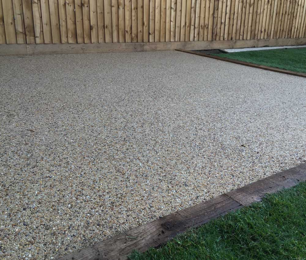 Resin Bound Gravel Patio with Wooden Border